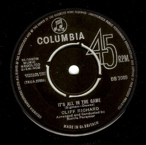 CLIFF RICHARD It's All In The Game Vinyl Record 7 Inch Columbia 1963..
